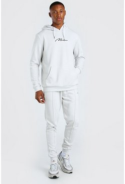 Light grey grey MAN Scuba Hooded Tracksuit with Pintucks