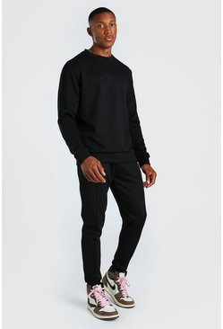 Black MAN Scuba Sweater Tracksuit with Pintucks