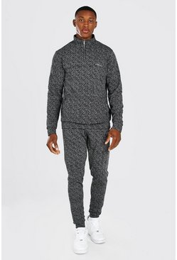 Charcoal grey MAN Signature Jacquard Half Zip Tracksuit