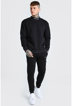 Black MAN Extended Neck Tracksuit with Back Print