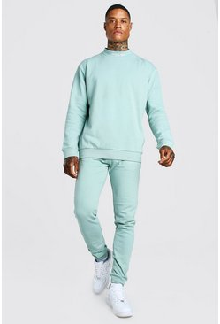 Sky grey MAN Extended Neck Tracksuit with Back Print
