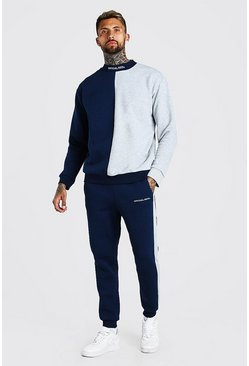 Navy Spliced MAN Official Extended Neck Tracksuit