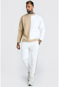 Taupe beige Spliced MAN Official Extended Neck Tracksuit