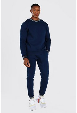 Navy  MAN Printed Rib Sweater Tracksuit