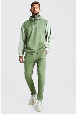 Khaki Oversized Colour Block Tracksuit with MAN Rib