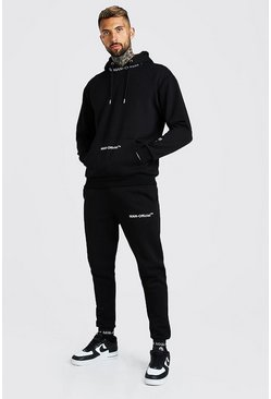 Black MAN Official Rib Detail Hooded Tracksuit
