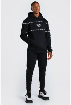 Black 3D MAN Embroidered Hooded Tracksuit with Tape