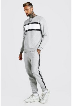 Grey marl grey MAN Signature Tape Colour Block Tracksuit