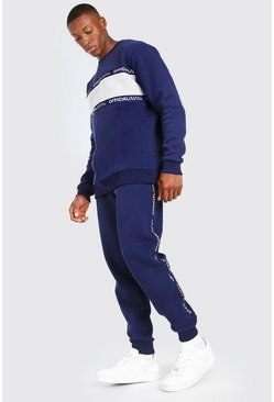 Navy Official MAN Tape Colour Block Tracksuit