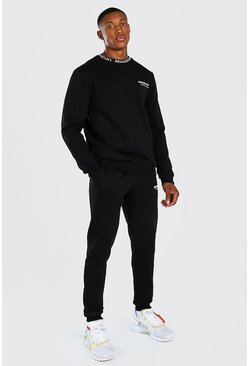 Black MAN Official Waistband Detail Sweater Tracksuit