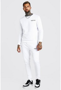 White MAN Official Waistband Detail Sweater Tracksuit