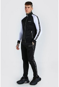 Black Official MAN Tape Funnel Neck Tracksuit