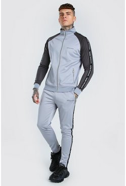 Grey Official MAN Tape Funnel Neck Tracksuit