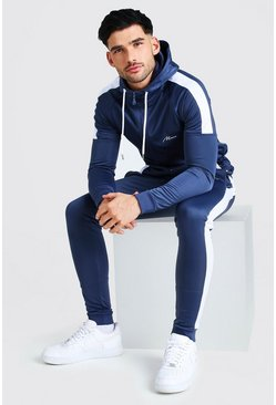 MAN Signature Muscle Fit Panelled Tracksuit, Navy azul marino