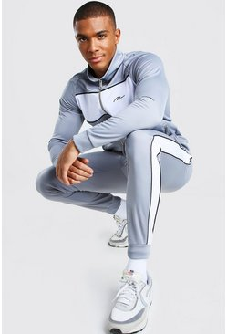 Slate MAN Signature Colour Block Funnel Neck Tracksuit