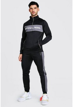 Black Official MAN Panelled Track Top And Jogger