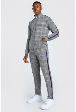 Grey MAN Jacquard Tracksuit With Tape Detail