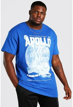 Blue Plus Size NASA Apollo License T-Shirt