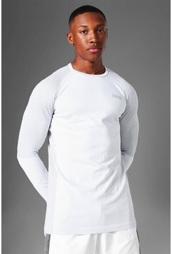 White Man Active Seamless Long Sleeve Top
