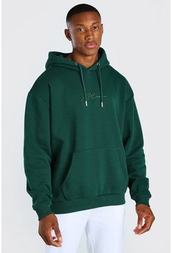 Green MAN Signature Embroidered Hoodie