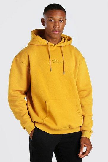 Mustard yellow MAN Signature Embroidered Hoodie