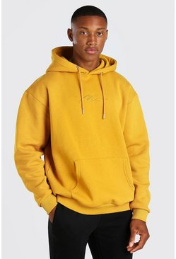 Mustard yellow MAN Signature Embroidered Hoodie