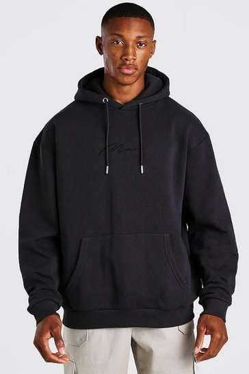 Slate grey MAN Signature Embroidered Hoodie