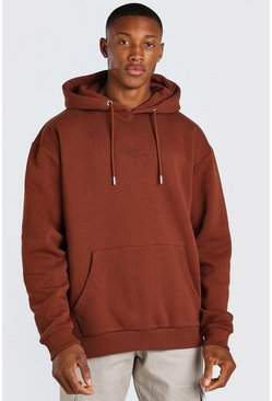 Brown MAN Signature Embroidered Hoodie