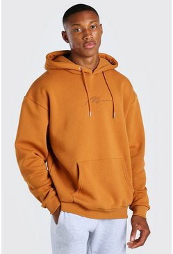 Rust orange MAN Signature Embroidered Hoodie