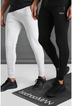 Multi MAN Active Joggers i skinny fit med dragkedjor och fickor (2-pack)