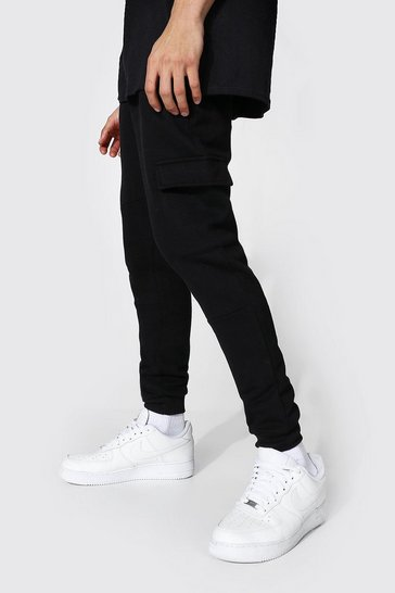 Black Skinny Fit Panelled Cargo Joggers