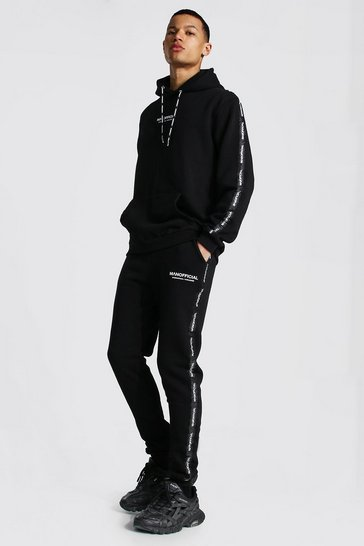 Black Tall Man Print Waistband Detail Tracksuit