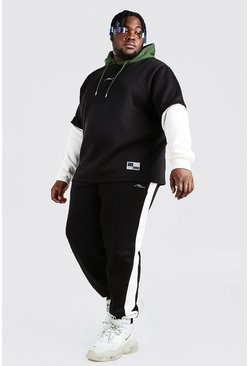 Black Plus Size MAN Contrast Hooded Tracksuit