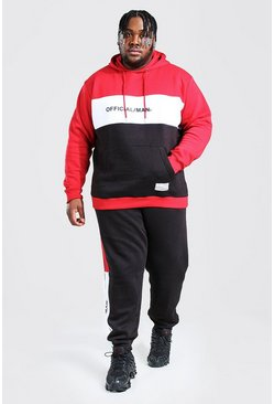 Plus Size MAN Colour Block Tracksuit, Black noir
