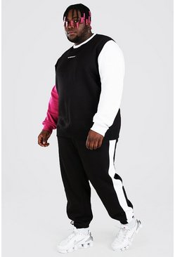 Black Plus Size MAN Contrast Sleeve Tracksuit