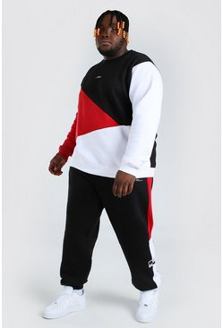 Black Plus Size MAN Spliced Colour Block Tracksuit