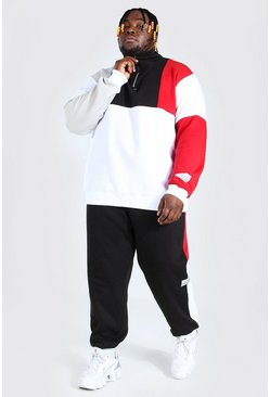 Black Plus Size Colour Block Funnel Tracksuit