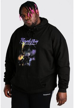 Black Big and Tall Purple Rain License Hoodie