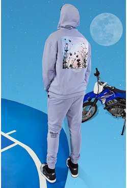 Lilac purple Tall Official Man Oversized Trainingspak Met Bloemen Opdruk