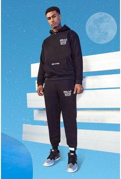 Tall Official MAN Slim Hooded Tracksuit, Black noir
