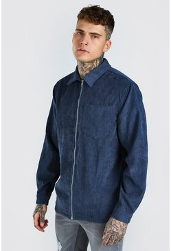 Navy Long Sleeve Zip Through Corduroy Overshirt