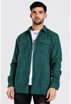 Forest green Long Sleeve Two Pocket Corduroy Overshirt
