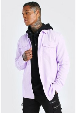 Lilac purple Long Sleeve Two Pocket Cord Overshirt