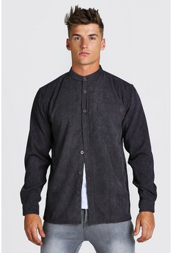 Charcoal grey Long Sleeve Grandad Collar Corduroy Shirt