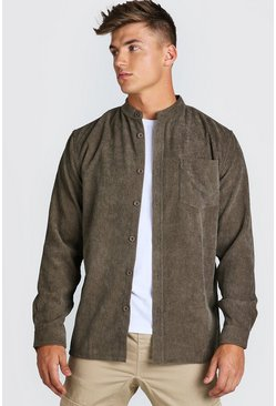 Long Sleeve Grandad Collar Corduroy Shirt, Khaki kaki