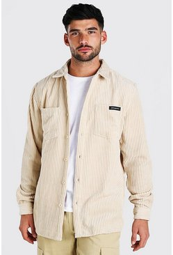 MAN Jumbo Cord Overshirt With Woven Tab, Stone beige