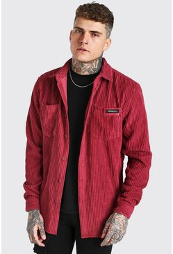 Burgundy red Long Sleeve Jumbo Cord Overshirt