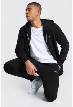 Black MAN Signature Zip Through Hooded Tracksuit