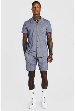Navy Short Sleeve Revere Shirt And Pin Tuck Short Set