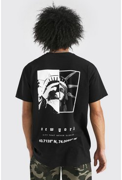 Black Oversized Statue Of Liberty Back Print T-Shirt